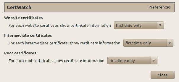 Screenshot of CertWatch 1.0 Preferences