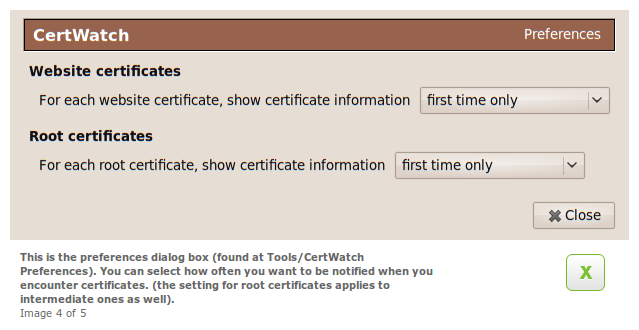 CertWatch 0.8 Preferences dialog