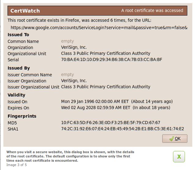 Certwatch 0.8 - Root certificate