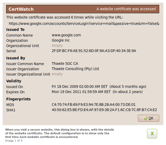 CertWatch 0.8 - Website certificate